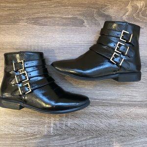 ZARA Girls Black Side Buckle Boots